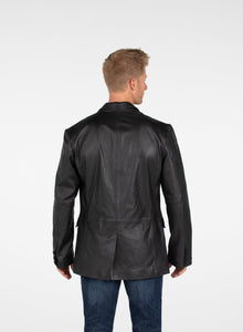Men's Sicilian 3 Button Lamb Leather Blazer - Discounted!-Mens Leather Blazer-Fadcloset-XS-Black-FADCLOSET CA