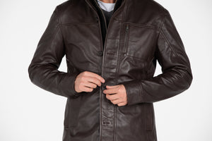 Mens Fancy Lambskin 4 Button Leather Coat-Leather Coat-Fadcloset-XS-Choco Brown-FADCLOSET CA
