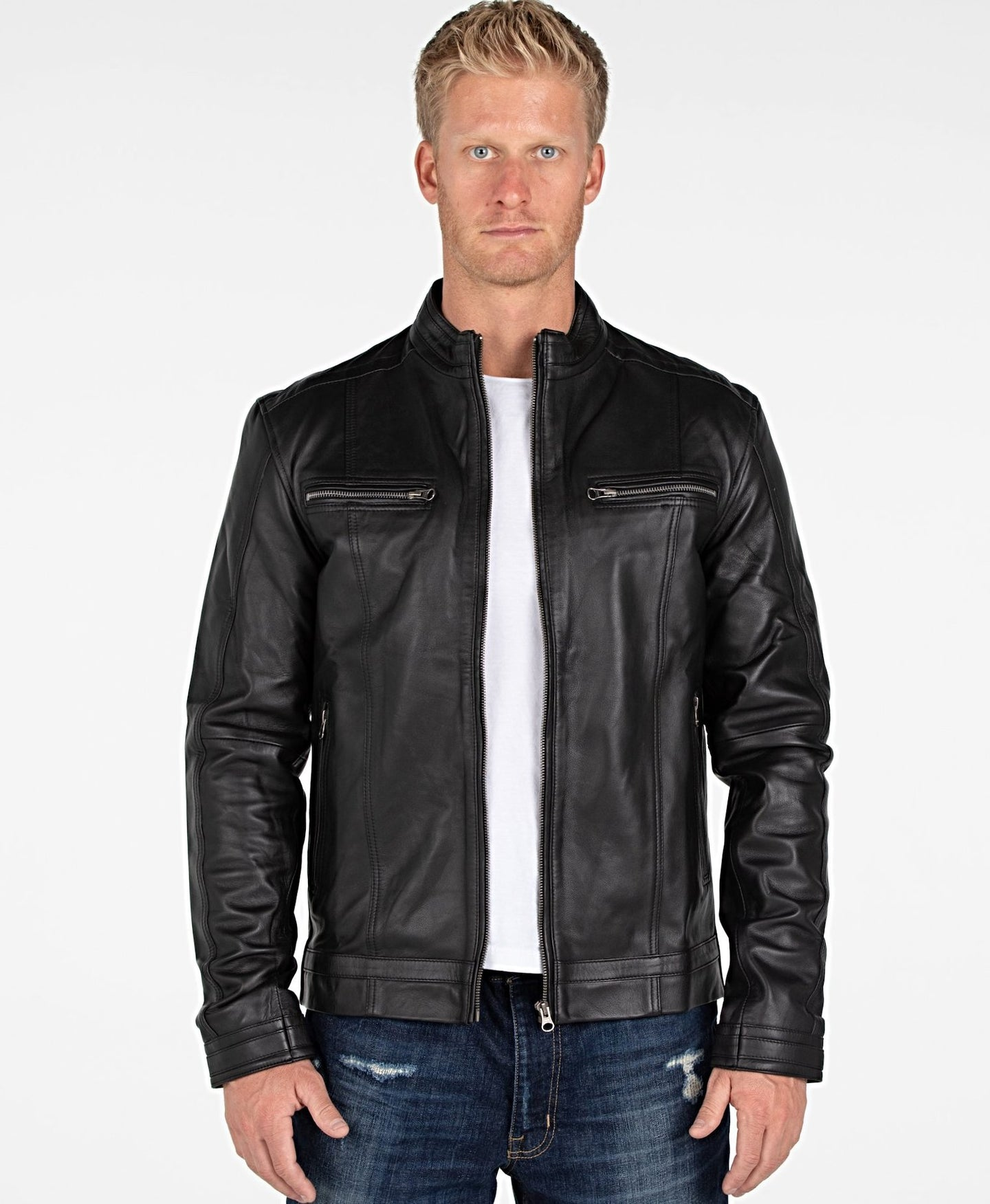 Wilson Mens Leather Jacket - Discounted!-Leather Jacket-Fadcloset-XS-Black-FADCLOSET CA