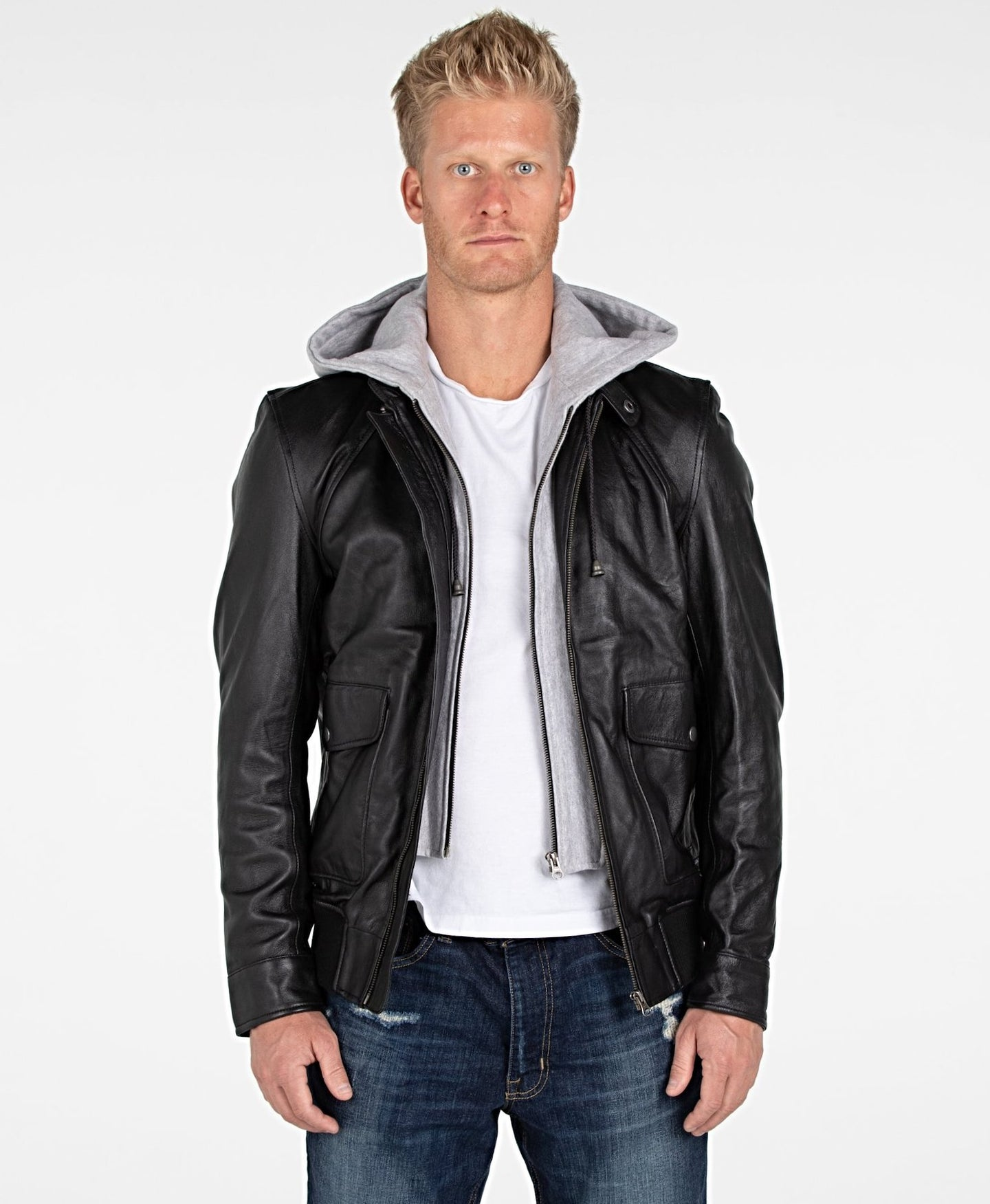 Men's Lambskin Hooded Leather Bomber Jacket - Discounted!-Mens Leather Jacket-Fadcloset-XS-Black-FADCLOSET CA