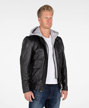 Load image into Gallery viewer, Men's Lambskin Hooded Leather Bomber Jacket - Discounted!-Mens Leather Jacket-Fadcloset-XS-Black-FADCLOSET CA