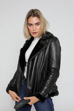 Load image into Gallery viewer, Women's Sylvia Black Shearling Fur Leather Jacket-Womens Leather Jacket-Fadcloset-Small-Black-FADCLOSET CA