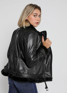 Women's Sylvia Black Shearling Fur Leather Jacket-Womens Leather Jacket-Fadcloset-Small-Black-FADCLOSET CA