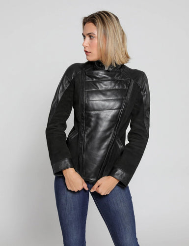 Femmes Cosette Double Panel Cuir - Suede Jacket-Womens Leather Jacket-Fadcloset-XS-BLACK-FADCLOSET CA