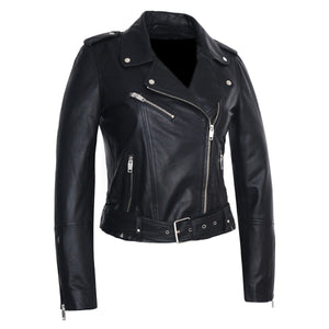 Womens Moto Nappa Leather Jacket - Discounted!-Womens Leather Jacket-Fadcloset-XS-Black-FADCLOSET CA