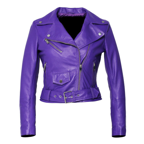 Womens Moto Nappa in Deerskin Emboss Patent Purple Leather Jacket-Womens Leather Jacket-Fadcloset-XS-Purple-FADCLOSET CA