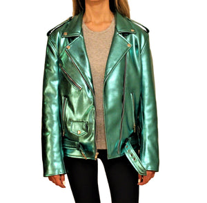 Women's Vegan Glam Metallic Green Motorcycle Style Leather Jacket - Pre-Order Now!-Womens Leather Jacket-Fadcloset-XS-Green-FADCLOSET