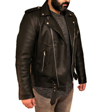 Load image into Gallery viewer, Men's Vegan Black Motorcycle Style Faux Leather Jacket-Leather Jacket-Fadcloset-XS-Black-FADCLOSET