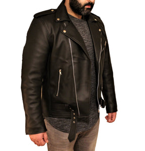 Men's Vegan Black Motorcycle Style Faux Leather Jacket-Leather Jacket-Fadcloset-XS-Black-FADCLOSET