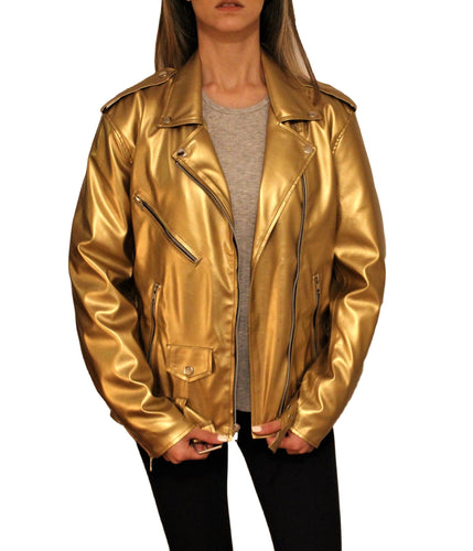 Women's Vegan Glam Metallic Golden Motorcycle Style Leather Jacket - Pre-Order Now!-Womens Leather Jacket-Fadcloset-XS-Gold-FADCLOSET