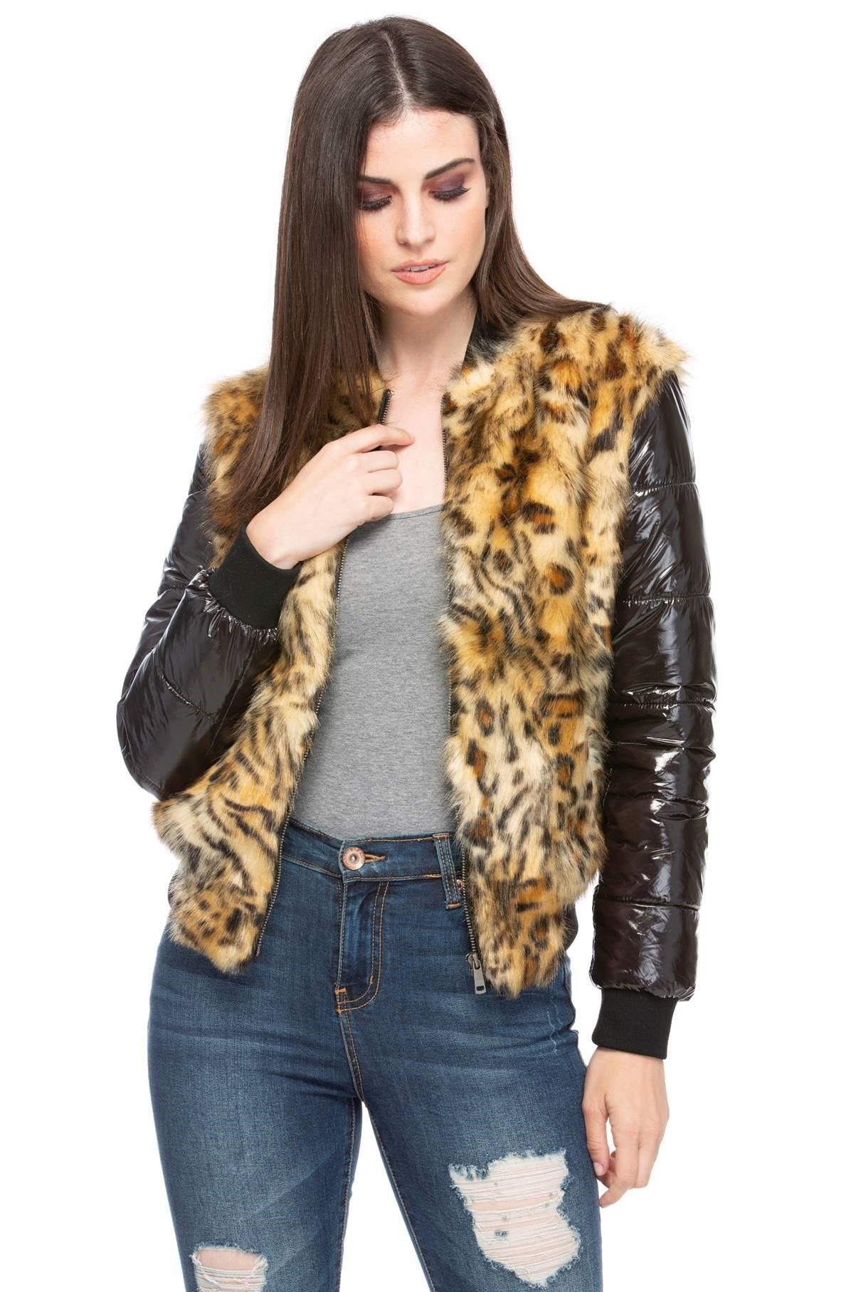 Women's Leopard Faux Fur Sassy Bomber Jacket-Womens Leather Jacket-Fadcloset-S-Black-FADCLOSET