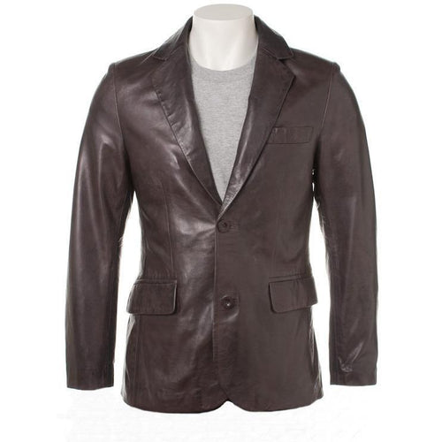 Bixby Mens Leather Blazer-Mens Leather Blazer-Fadcloset-XS-Dark Choco-FADCLOSET CA