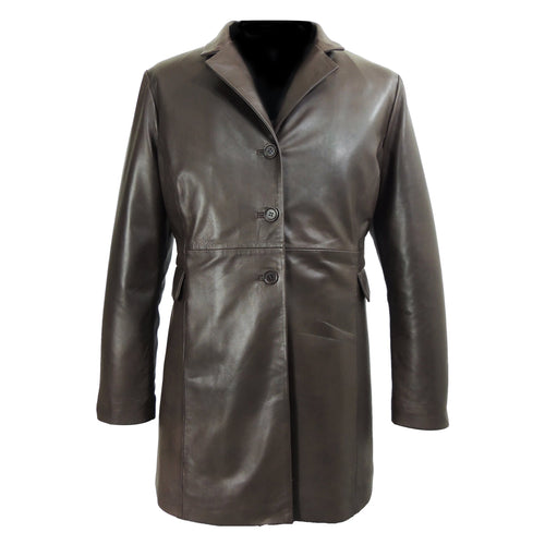 Felicia Womens 3/4 Long Leather Coat-Womens Leather Coat-Fadcloset-XS-Brown-FADCLOSET CA
