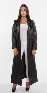 Ladies 3 Button Matrix Black Long Leather Coat-Womens Leather Coat-FADCLOSET CA