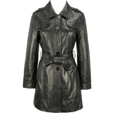 Load image into Gallery viewer, Women's Elegant Leather Trench Coat-Womens Leather Coat-Fadcloset-XS-Black-FADCLOSET CA
