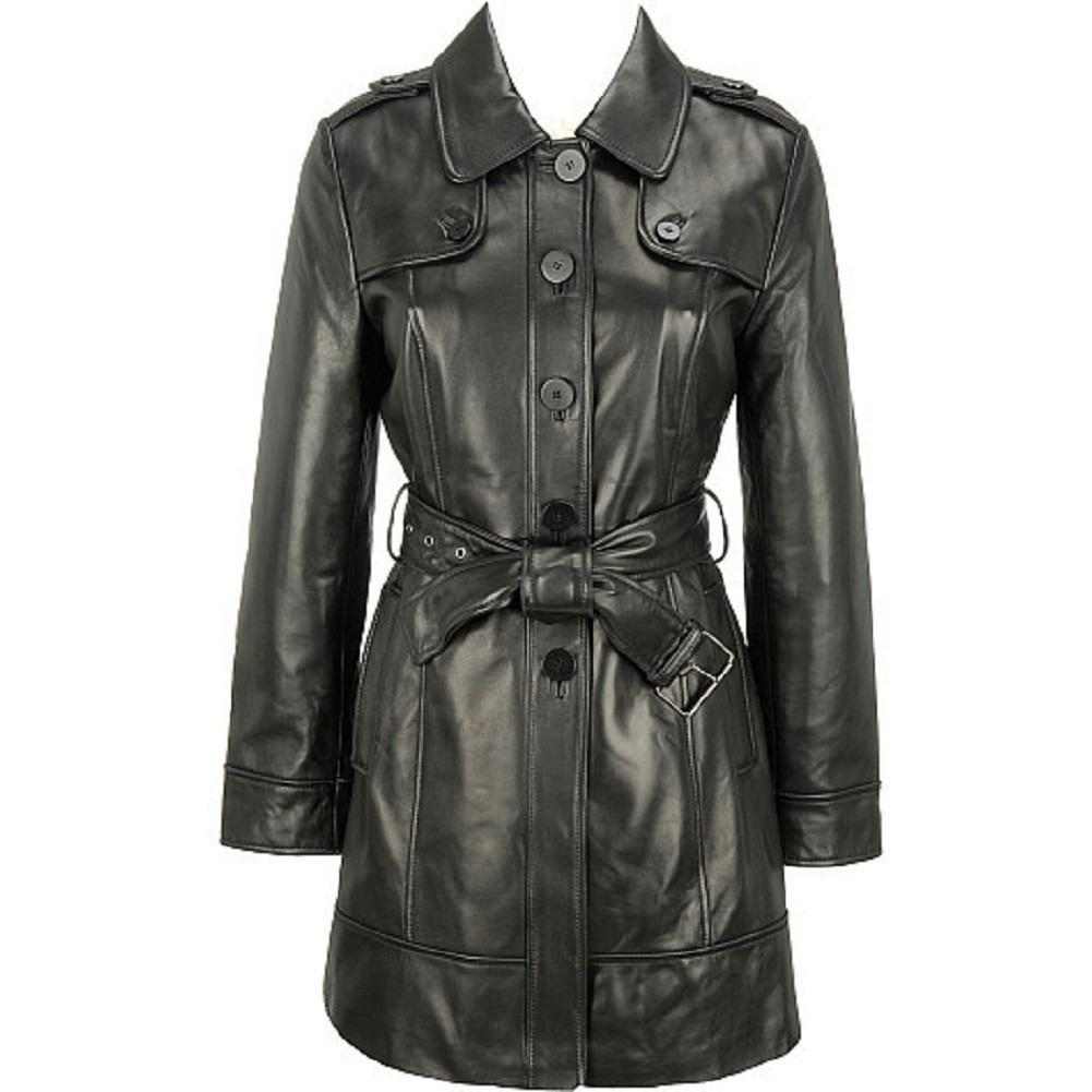 Women's Elegant Leather Trench Coat-Womens Leather Coat-Fadcloset-XS-Black-FADCLOSET CA