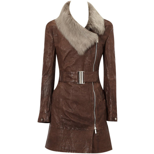 Womens Veg Leather Long Coat with Fur Collar-Womens Leather Coat-Fadcloset-XS-Brown-FADCLOSET CA