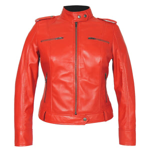 Faya Womens Leather Jacket Midnight - Discounted!-Womens Leather Jacket-Fadcloset-XS-Red-FADCLOSET CA