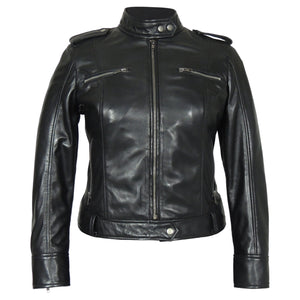 Faya Womens Leather Jacket Midnight - Discounted!-Womens Leather Jacket-Fadcloset-XS-Black-FADCLOSET CA