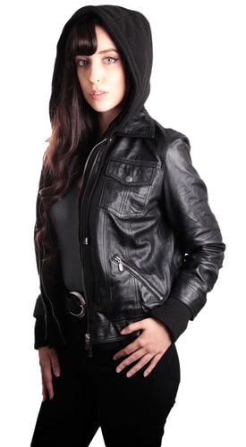 Womens Leather Jacket - Hooded Bomber Womens Leather Jacket