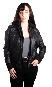 Hooded Bomber Womens Leather Jacket-Womens Leather Jacket-Fadcloset-XS-Black-FADCLOSET CA