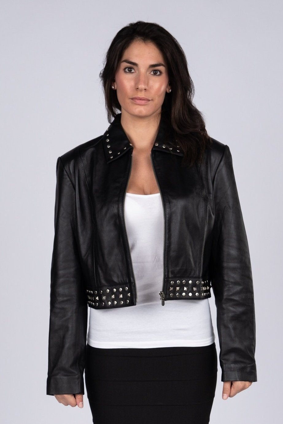 Ladies Sexy Bolero Leather Jacket with Rivets-Womens Leather Jacket-Fadcloset-XS-Black-FADCLOSET CA