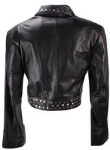 Load image into Gallery viewer, Ladies Sexy Bolero Leather Jacket with Rivets-Womens Leather Jacket-Fadcloset-XS-Black-FADCLOSET CA