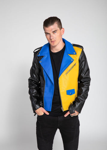 Womens Leather Jacket - Men's Block Print Moto Style Faux Leather Jacket - Blue/Yellow