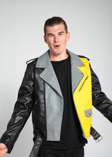 Load image into Gallery viewer, Womens Leather Jacket - Men's Block Print Moto Style Faux Leather Jacket - Yellow/Gray