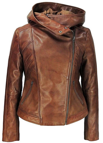 Sasha High Fashion Womens Hooded Leather Jacket-Womens Leather Jacket-Fadcloset-FADCLOSET CA
