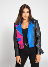 Load image into Gallery viewer, Womens Leather Jacket - Women's Block Print Moto Style Faux Leather Jacket - Pink/Blue
