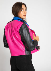 Womens Leather Jacket - Women's Block Print Moto Style Faux Leather Jacket - Pink/Blue