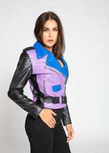 Charger l'image dans le visualiseur de la galerie, Womens Leather Jacket - Women's Block Print Moto Style Faux Leather Jacket - Purple/Blue