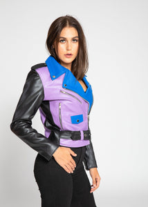 Womens Leather Jacket - Women's Block Print Moto Style Faux Leather Jacket - Purple/Blue