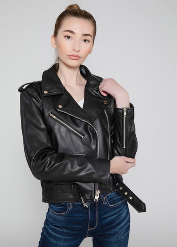 Women's Vegan Black Motorcycle Style Leather Jacket-Womens Leather Jacket-FADCLOSET CA
