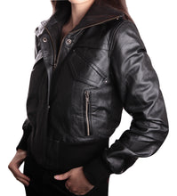 Load image into Gallery viewer, Women's Short-Cut Bomber Leather Jacket-Womens Leather Jacket-Fadcloset-XS-Black-FADCLOSET CA