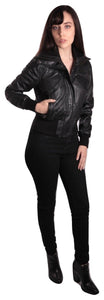 Women's Short-Cut Bomber Leather Jacket-Womens Leather Jacket-Fadcloset-XS-Black-FADCLOSET CA