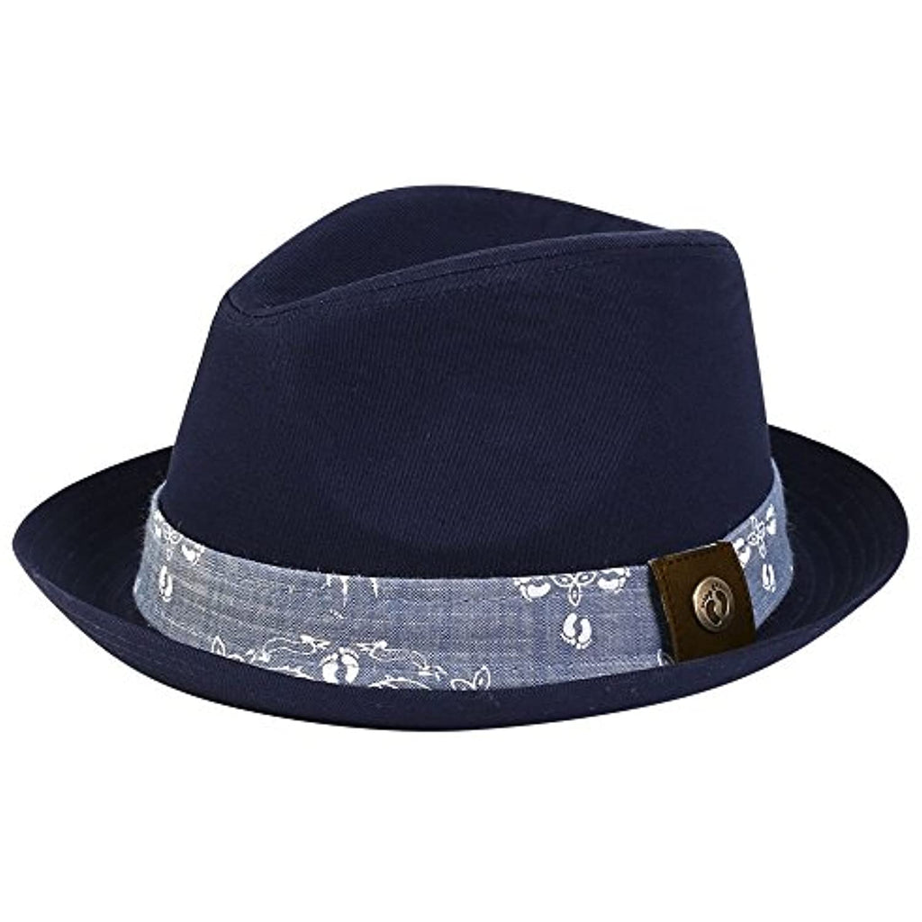 Hang Ten Fedora w/Antique Brass Rivet on Leather Patch Label (M) (L) Navy