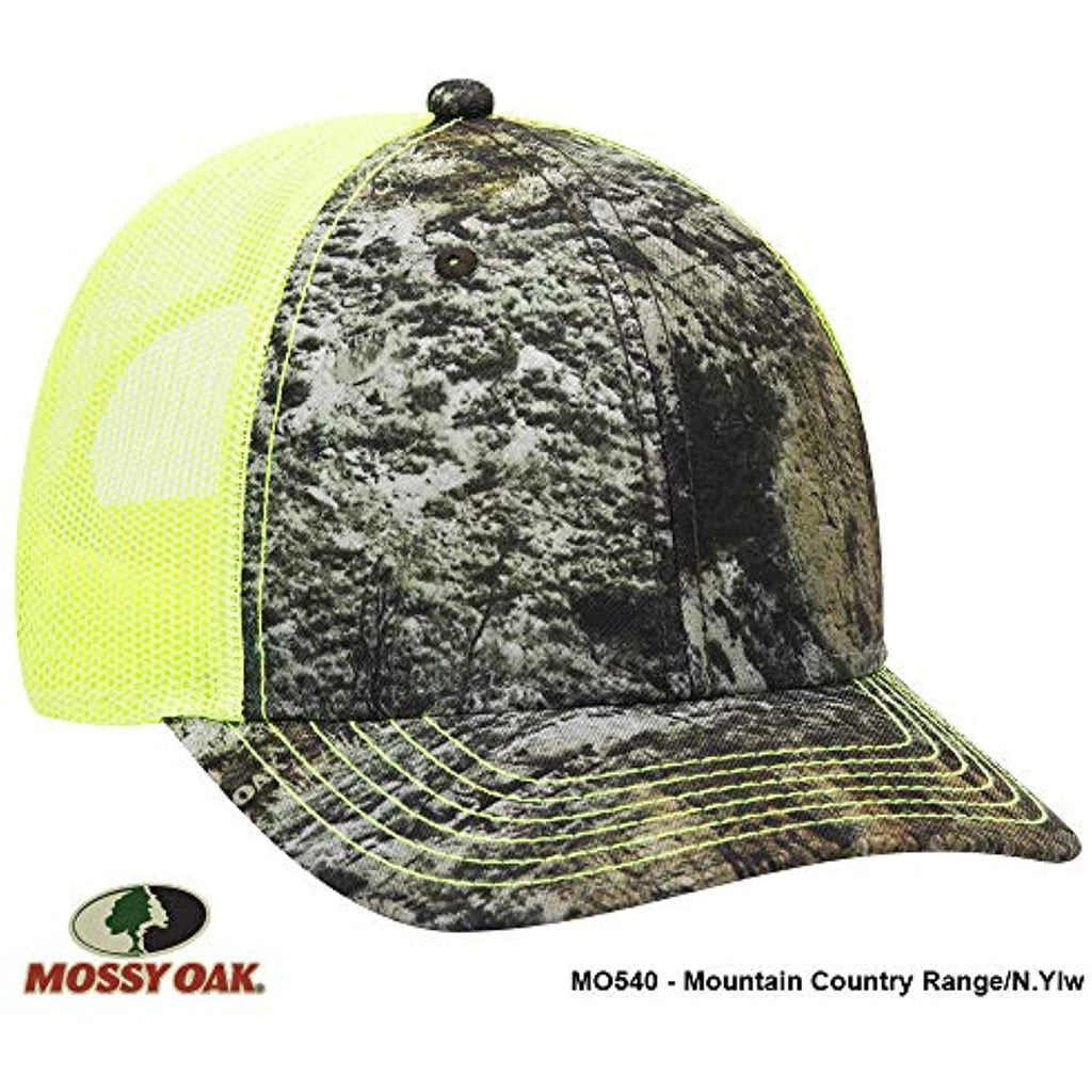 Mossy Oak Camouflage Superior Polyester Twill 6 Panel Low Profile Mesh Back Baseball Cap (MO540 Mountain Country Range/N.YLW)