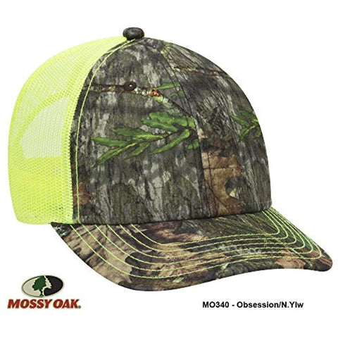 Image of Mossy Oak Camouflage Superior Polyester Twill 6 Panel Low Profile Mesh Back Baseball Cap