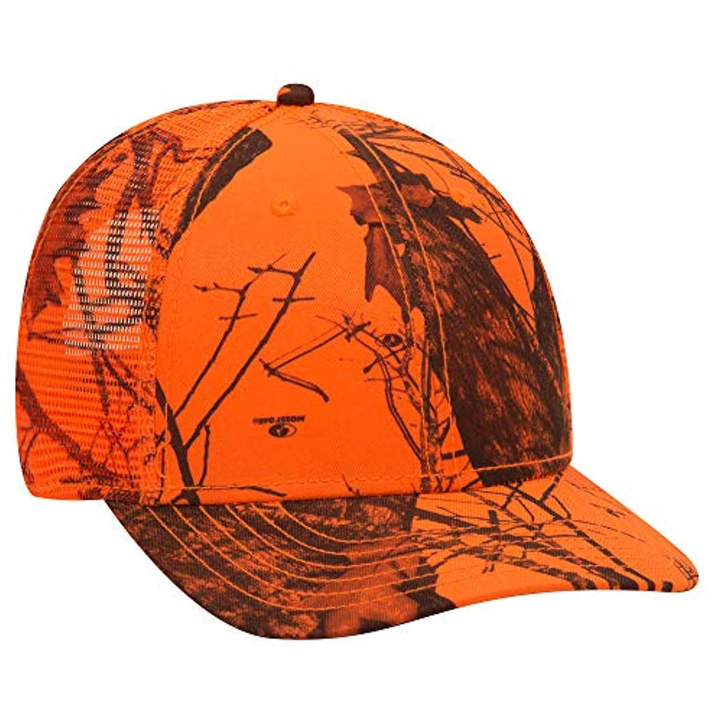 Mossy Oak Camouflage Superior Polyester Twill 6 Panel Low Profile Mesh Back Baseball Cap (MO6 Blaze)