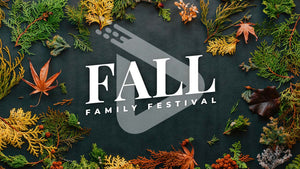 "Brightly colored fall foliage spread across black crafting paper. The words ""Fall Family Festival"" are written in bold white letters across the template."
