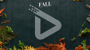 "Brightly colored fall foliage spread across black crafting paper. The words ""Fall Family Festival"" are written in small, white, letters and centered on the top of the template."