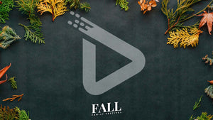 "Brightly colored fall foliage spread across black crafting paper. The words ""Fall Family Festival"" are written in small, white, letters and centered on the bottom of the template."