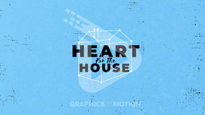 "A 3-D stick figure schematic of a house with the words ""heart for the house"" inside. The background is light blue with black speckles."