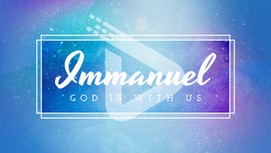 "Bold, italicized, large letters spell out ""Immanuel"" with smaller letters below spelling ""God with Us."" All this is on a background of snow falling from a blue and purple sky."