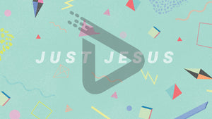 Just Jesus is stated on a mint green background and surrounded by multi-colored, geometric shapes in this retro inspired template.
