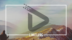 "A misty mountain ridge, complete with a faint rainbow, is bordered in white with the word ""limitless"" in the lower middle of the template."