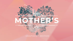 Happy Mothers Day with a floral heart pattern on a pink background