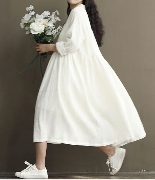 Cotton white irregular dress